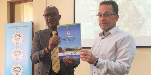 The EPZA Director of Investment Promotion and Facilitation Mr. James Maziku with GIZ-NatuReS Tanzania Country Coordinator Mr. Fridtjof Behnsen during the launch of the guidelines.