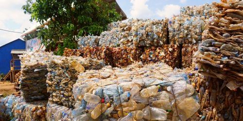 PET bottles collected for recycling in Kampala, Uganda