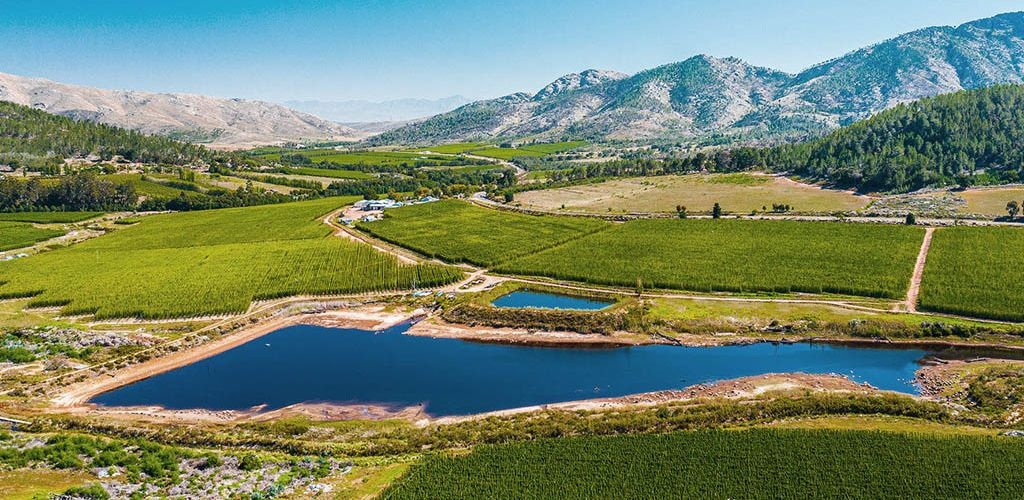 Aerial picture of George Hops growing region, Western Cape