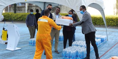PPE distribution ceremony for waste collectors in Addis Ababa