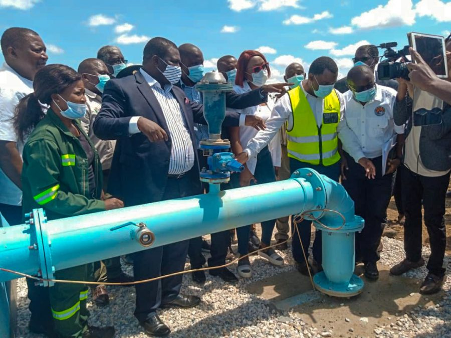 people inaugurating the new pipeline